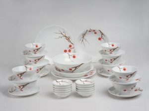 Bộ đồ ăn Minh Long Daisy Hồng Mai 35 sản phẩm