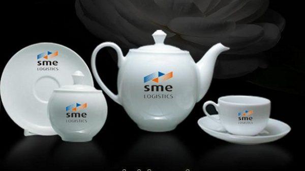 bộ ấm trà gốm sứ minh long camellia trắng 0.8 l Giá In Logo SME